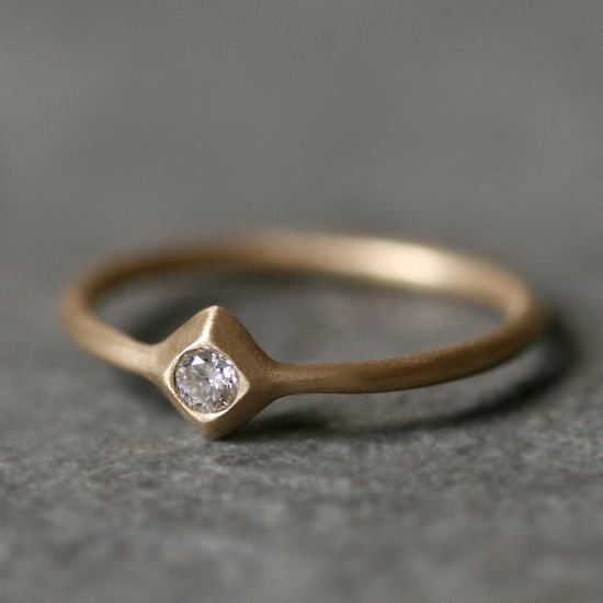 Small Pyramid Solitaire Ring in 14K with by MichelleChangJewelry, $325.00
