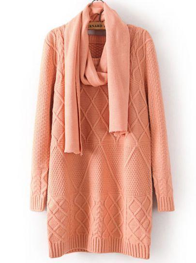 Pink Diamond Patterned Shawl Sweater.