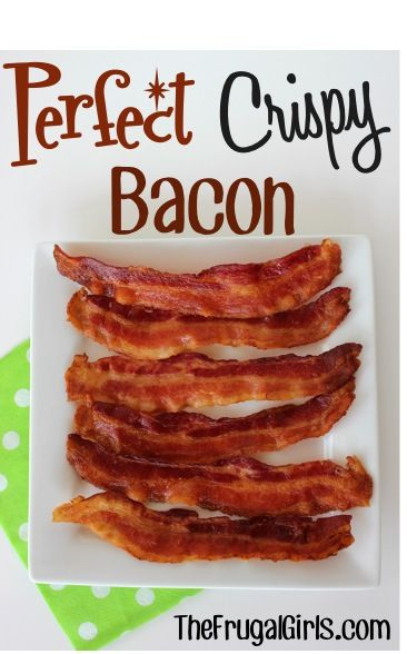 The Trick to Perfect Crispy Bacon!  {without the mess!} ~ from TheFrugalGirls.com #bacon #breakfast #recipes