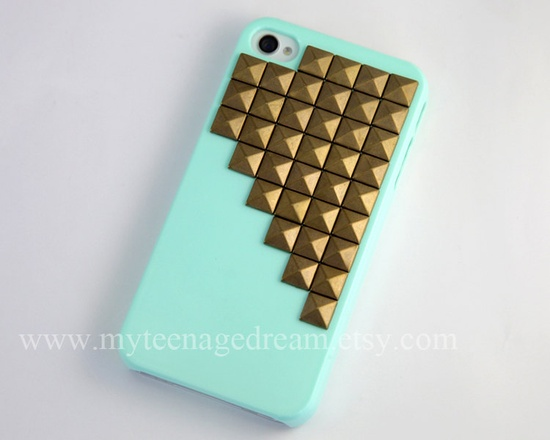 Studded iPhone 4 Case iPhone 4s Case Studded by MyTeenageDream. , via Etsy.
