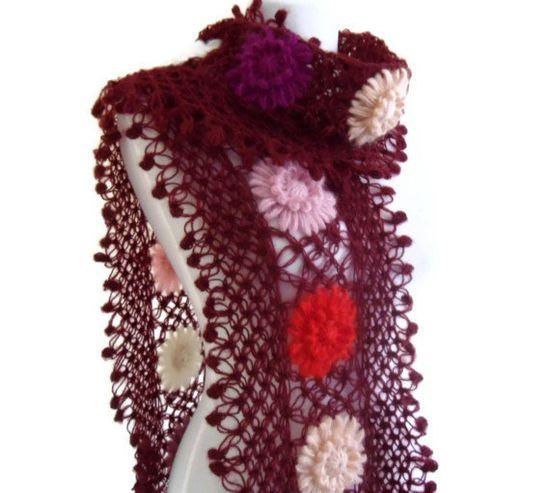 crochet scarf crochet flower scarf turkish scarf by likeknitting, $39.99