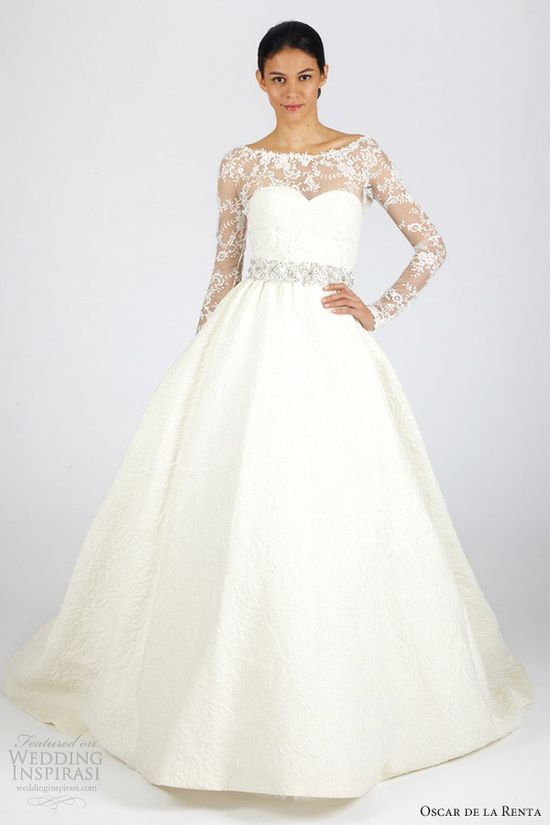 oscar de la renta bridal fall 2013 long sleeves ball gown wedding dress