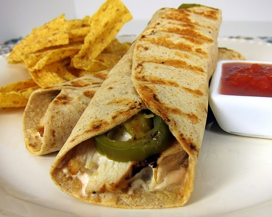 Chicken popper wrap!  Grilled chicken, cream cheese, salsa, jalapenos all in a tortilla.