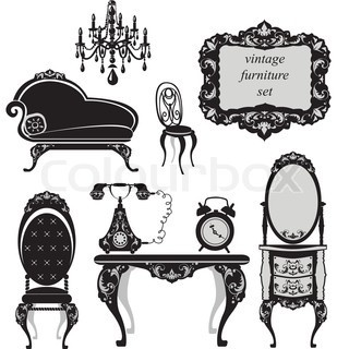 Set of antique furniture - isolated black silhouettes stock vector