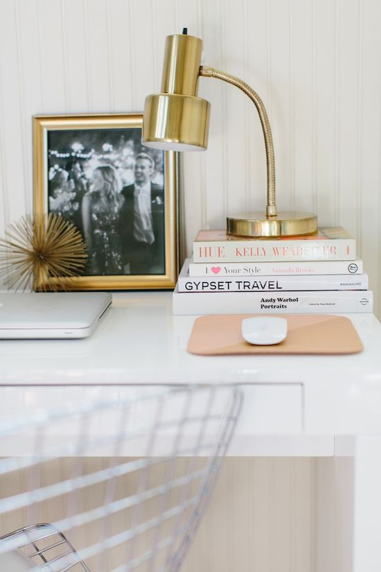 modern desk vignette with brass touches