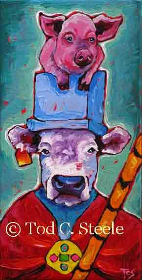 Cow Painting Art Print Pig Painting by TodSteeleAnimalArt