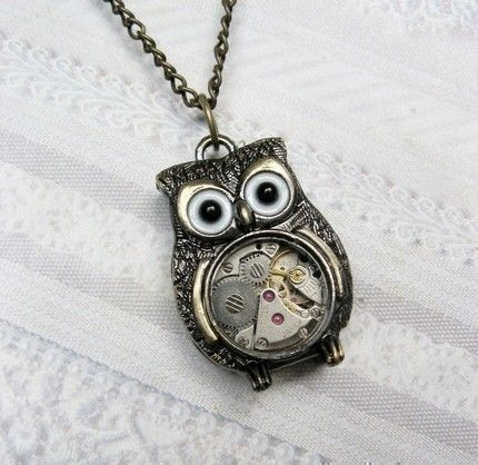 Brass Owl Necklace - Steampunk Owl Necklace - Jewelry by BirdzNbeez. $26.00, via Etsy.
