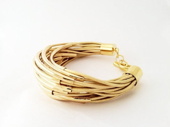 Metallic Gold Leather Cuff Bracelet with Gold or by Leatherwraps, $85.00