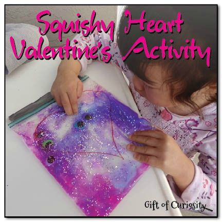 Have you done any Valentine activities with your kids yet? This Squishy Heart Sensory Valentine Activity (shared by Katie of Gift of Curiosity) is simple enough for the kids to help make and offers awesome sensory and fine motor play when they're done! B-InspiredMama.com