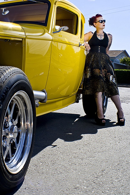 "#rockabilly yellow hot rod. ""Um, excuse me, you rockin my car"".....  #Travel Rides- We cover the world over 220 countries, 26 languages and 120 currencies Hotel and Flight deals.guarantee the best price"