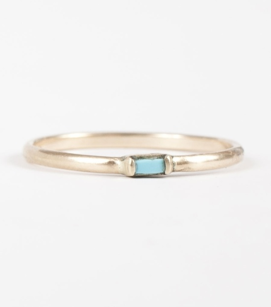Catbird :: shop by category :: JEWELRY :: Wedding & Engagement :: Non-traditional :: Baguette Ring, Turquoise