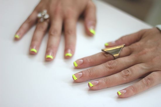 Cute and easy neon tipped nails!