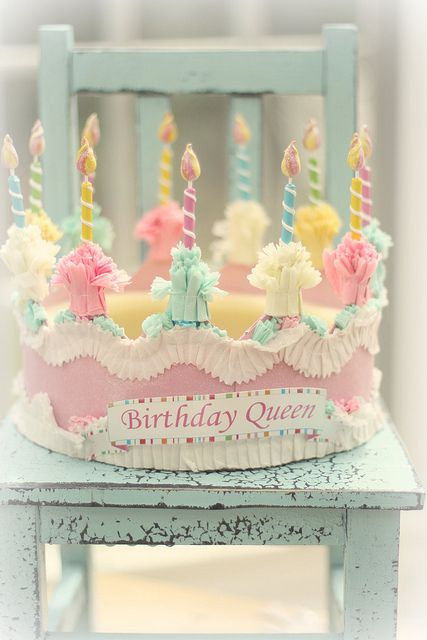 Birthday cake crown! Isn't this precious...love the colors!