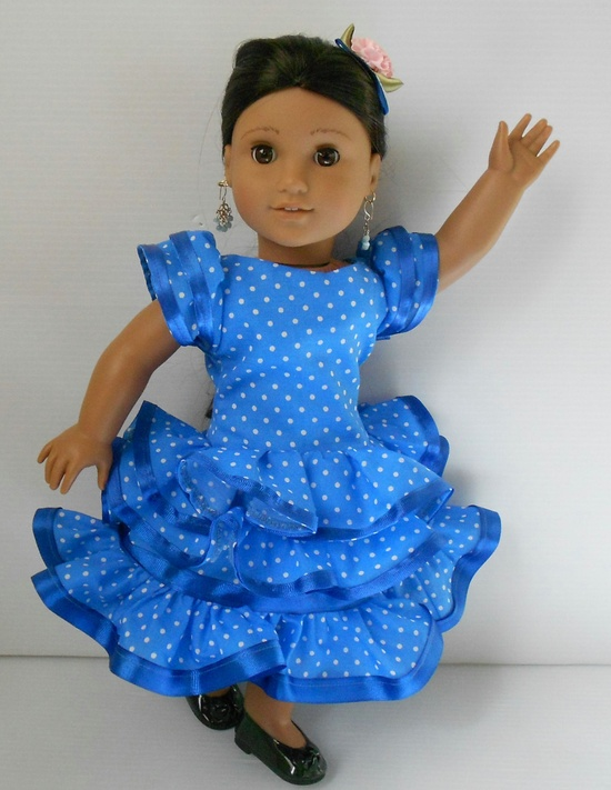 """Flamenco blue white polka dots dress for American Girl and similar 18"""" dolls hand made in USA at De Colores Doll Fashion. $32.00, via Etsy."""