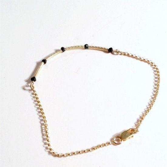 Black Skinny Bracelet Bead Bar Thin Chain by jewelrybycarmal, $28.00