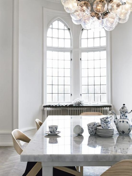 Tall arched windows & heater