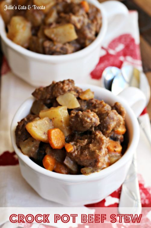 Crock Pot Beef Stew ~ Throw it in the Crock Pot and come home to a home cooked meal! via www.julieseatsand...