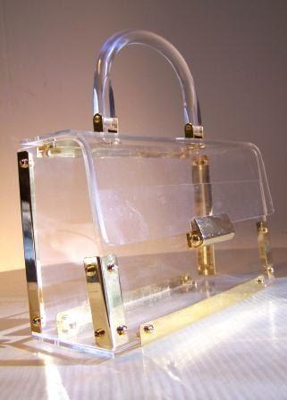 Vintage 1950s Clear Lucite Box Purse
