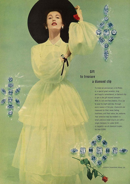 Treasure the gift of a diamond clip (I certainly would!). #vintage #fashion #1950s #jewelry #diamonds #ad