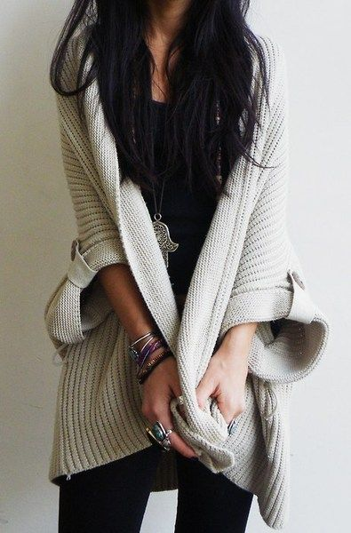 Oversized sweaters.
