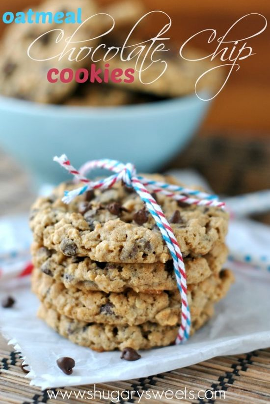 Oatmeal Chocolate Chip cookies: chewy chocolate chip cookies, no mistaking these for raisins!