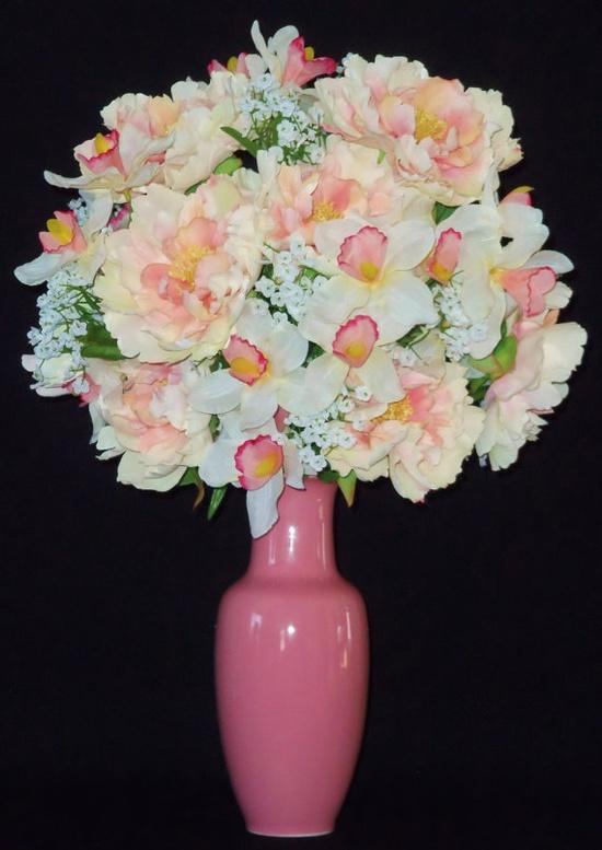 Silk Flower Arrangement Pink & White Peonies
