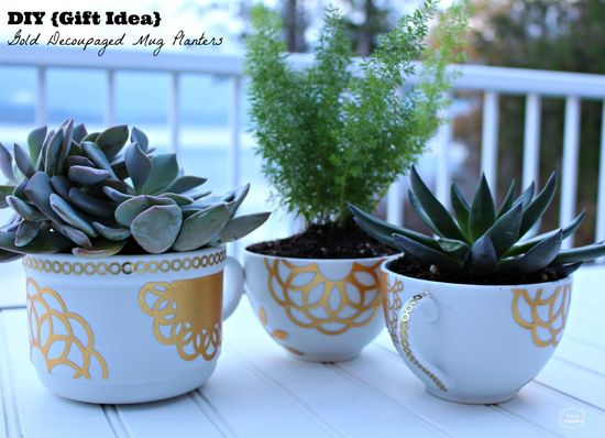 DIY Gift Idea gold decoupaged mug planters with succulents at thehappyhousie #MSholiday