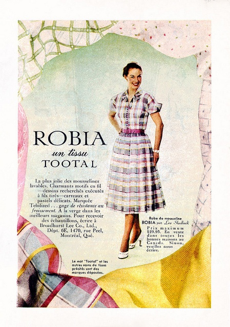 A lovely pink, yellow and blue plaid short-sleeved dress from 1952. #vintage #1950s #fashion #ads