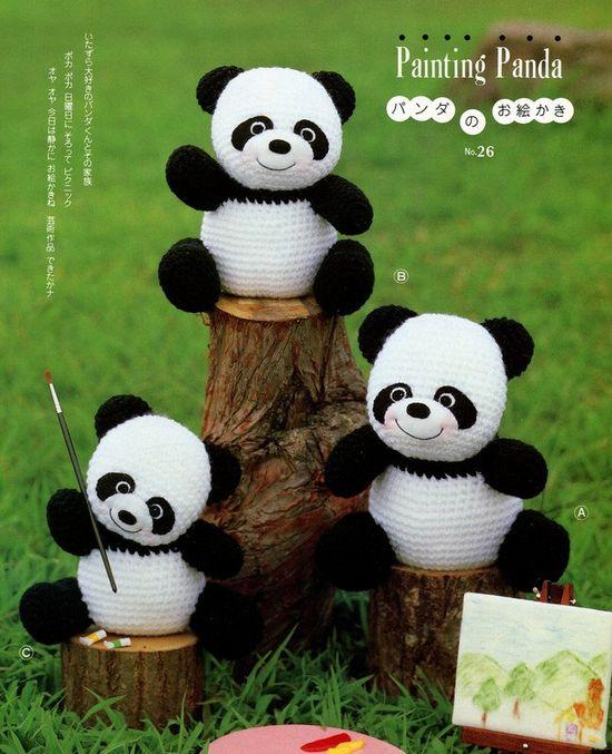 3 Big Amigurumi Panda Crochet Pattern $ PDF.