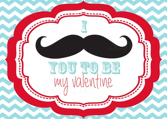 I Mustache you to be my Valentine - Valentine Day Cards - Printable DIY File. $5.00, via Etsy.