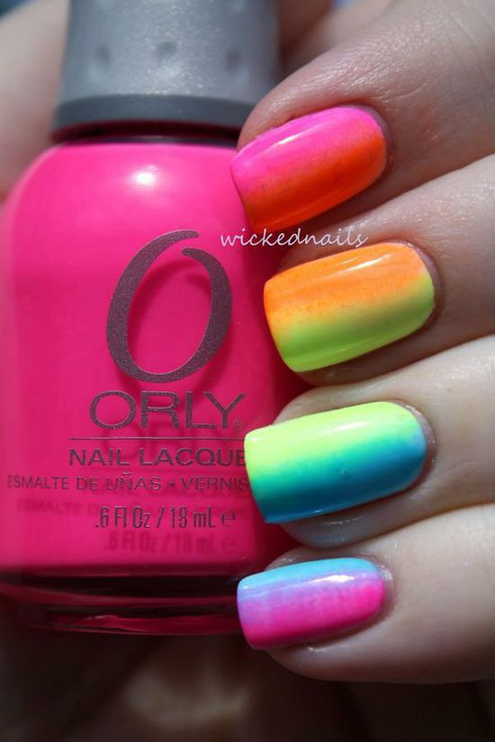 Rainbow ombre nails