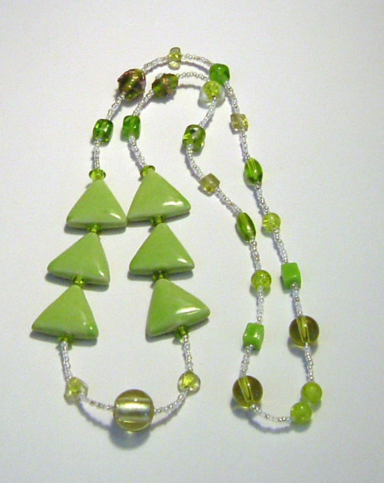 Light Green Porcelain Triangle Bead Necklace by tzteja on Etsy, $20.00 - Designs by Tamiza