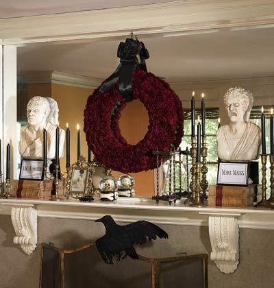 Mantel Makeover    Get your home in ghoulish gear for the season soon approaching. Set the stage for a spooky ambiance with these haunting ideas that seem pretty enough at first glance, but reveal their sinister elements on closer inspection.