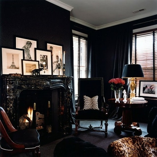 Black interior design.