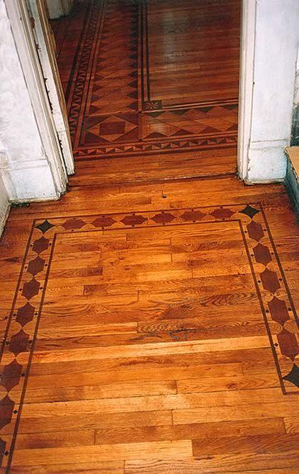 Floor Designs Ideas Wood Floor Faux Inlay Boarder Stencil