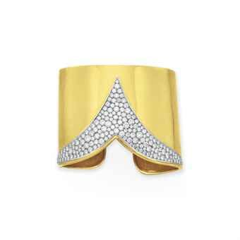 A DIAMOND AND GOLD CUFF BRACELET, BY CARTIER