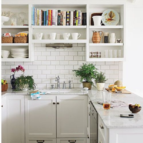 Kitchen white - Southern Living Photo Alexandra Rowley  Really love the open shelves with a bookcase for cookbooks!