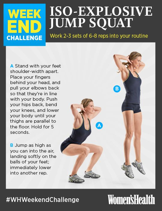 Iso-Explosive Jump Squats: Whip your lower half into shape. The five-second pause before you jump up activates tons of muscle fibers in your glutes and quads to help sculpt look-at-me legs.    REPIN IF YOU'RE IN! #WHWeekendChallenge www.womenshealthm...