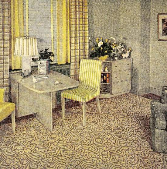 Shades of yellow and grey from American Home magazine, November 1943. #vintage #1940s #decor