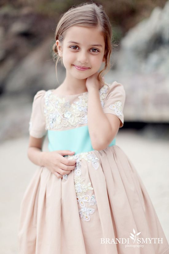 Fancy Moo Moo- Custom Flower Girl Dress Example (Seen here in Blush with Turquoise Sash). $500.00, via Etsy.