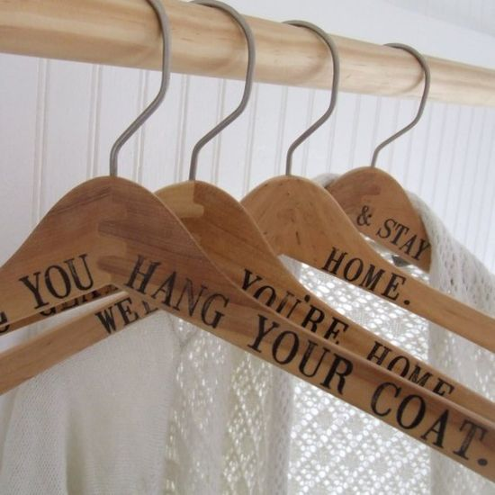 Stenciled coat hangers... cute present esp for a new house!