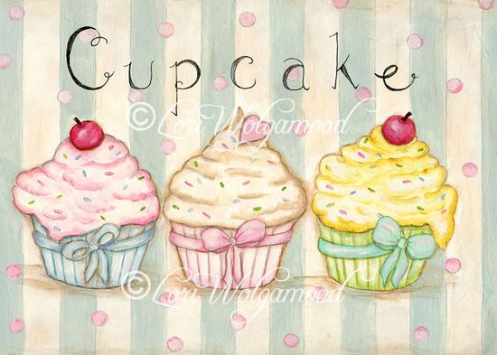 Cupcake No.4 - Acrylic - Digital Print: Vintage Nest Designs, Creative Handmade and Hand Painted Designs