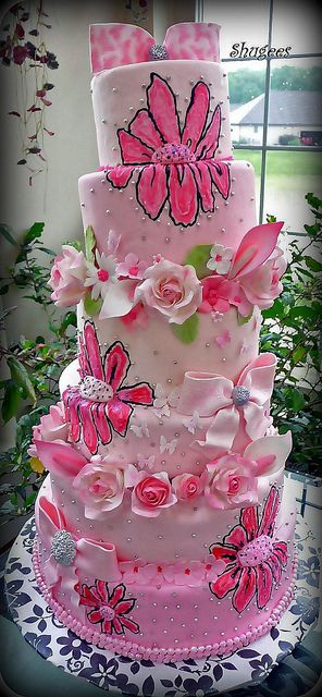 6 tier pink wedding cake