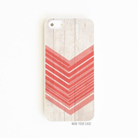 iPhone 5 Case Wood Grain Geometric Coral von onyourcasestore