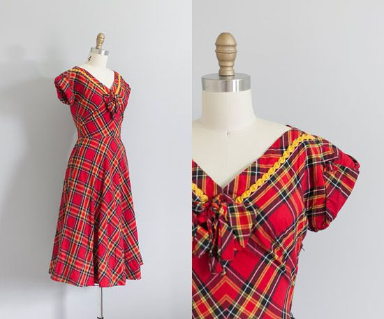 Absolutely lovely 1940s red and yellow plaid dress. #vintage #1940s #fashion