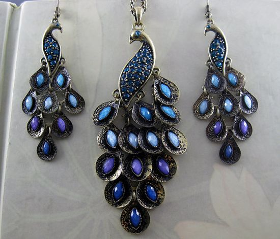 ON SALE Lovely  Peacock Earrings and Necklace SET by hgforeverstar, $11.99