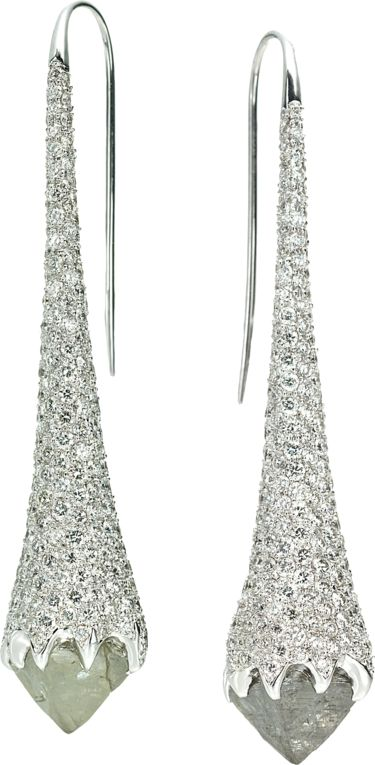 Iceberg drop earrings featuring two octahedron rough diamonds totaling 17.79cts accented with 10....