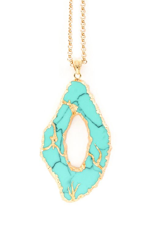 Gold Dipped Turquoise Necklace