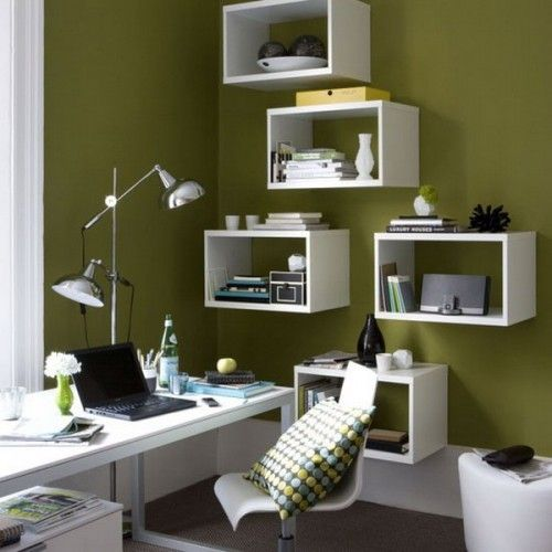 43 Inspiring And Thoughtful Home Office Storage Ideas : Home Office Storage Ideas With White Green Lamp Desk Chair Notebook Hardwood Floor