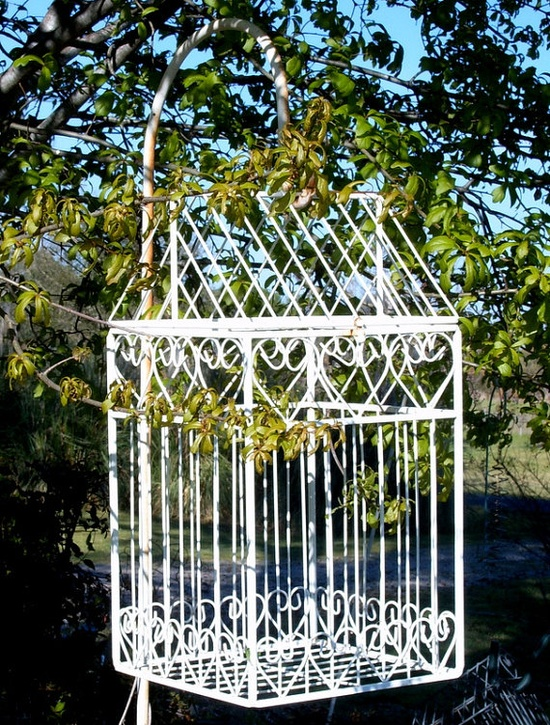 Upcycled Bird Cage Garden Decor Metal Bird